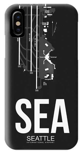Seattle iPhone X Case - Seattle Airport Poster 1 by Naxart Studio