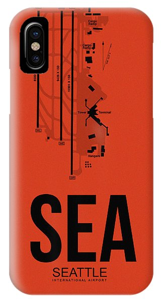 Seattle iPhone X Case - Seattle Airport Poster 2 by Naxart Studio