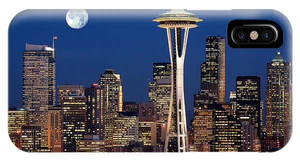 Downtown Seattle iPhone Case - Seattle At Full Moon by Inge Johnsson