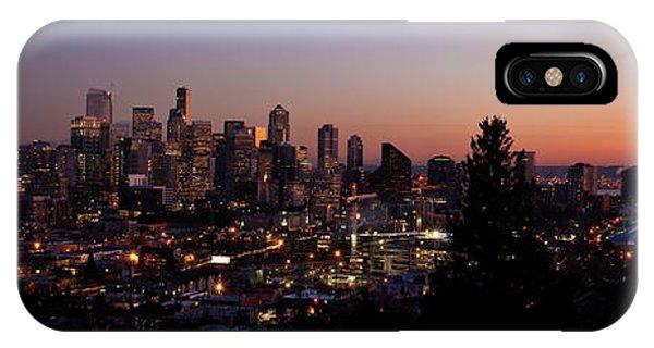 Seattle iPhone Case - Seattle Cityscape Twilight by Mike Reid