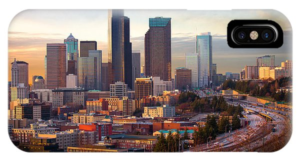 Downtown Seattle iPhone Case - Seattle Downtown Dusk by Inge Johnsson