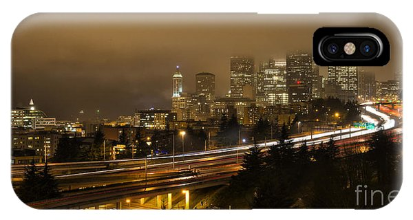 Seattle Downtown Skyline From Dr Jose Rizal Bridge At Dusk  IPhone Case