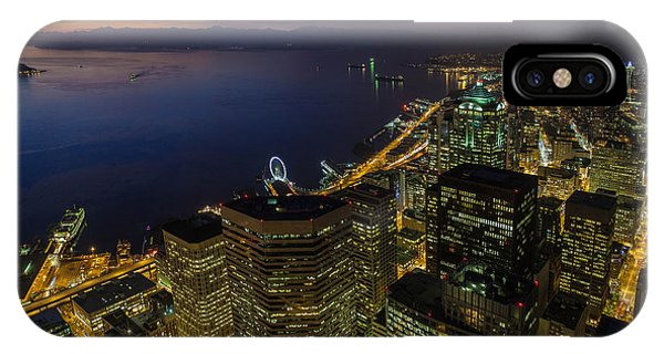 Seattle iPhone Case - Seattle Dusk Colors by Mike Reid