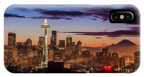 Downtown Seattle iPhone Case - Seattle Fog Sunrise by Mike Reid