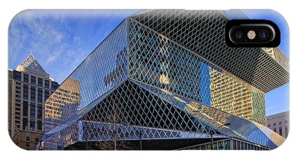 Downtown Seattle iPhone Case - Seattle Library by Inge Johnsson