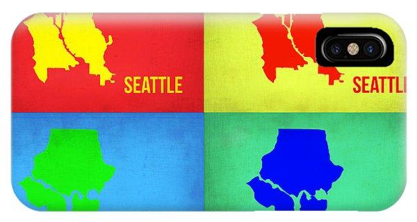 Seattle iPhone X Case - Seattle Pop Art Map 1 by Naxart Studio