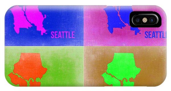 Seattle iPhone X Case - Seattle Pop Art Map 2 by Naxart Studio