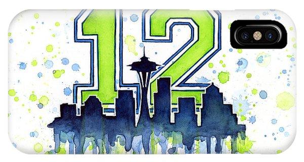 Men iPhone Case - Seattle Seahawks 12th Man Art by Olga Shvartsur