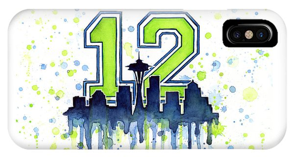 Men iPhone Case - Seattle Seahawks 12th Man Art by Olga Shvartsur