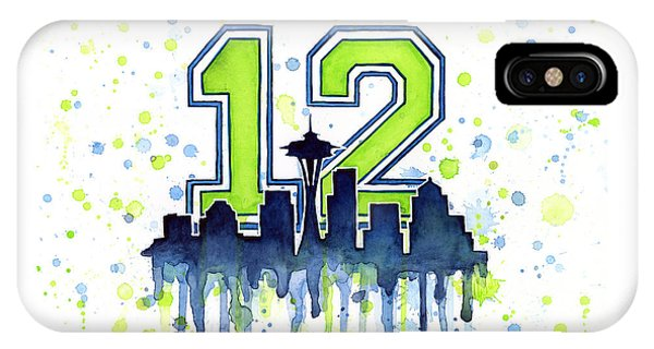 Seattle Skyline iPhone Case - Seattle Seahawks 12th Man Art by Olga Shvartsur