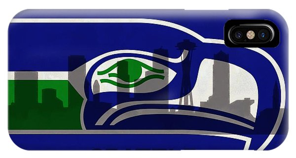 Seattle Seahawks On Seattle Skyline IPhone Case