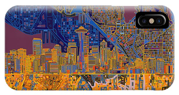 Seattle Skyline Abstract 4 IPhone Case