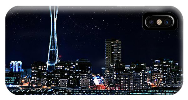 Seattle Skyline At Night With Full Moon IPhone Case