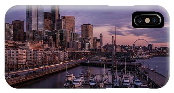 Downtown Seattle iPhone Case - Seattle Skyline Bell Harbor Dusk by Mike Reid