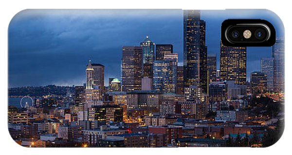 Downtown Seattle iPhone Case - Seattle Skyline Evening Drama by Mike Reid
