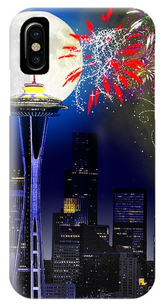 Downtown Seattle iPhone Case - Seattle Skyline by Methune Hively