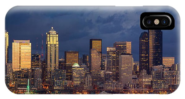 The Nature Center iPhone Case - Seattle Skyline Sunset Detail by Mike Reid