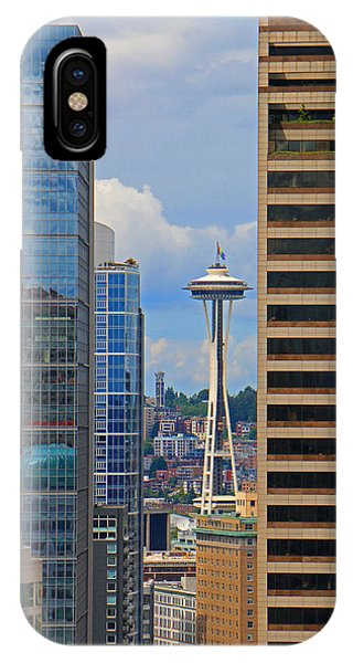 Gay Pride Flag iPhone Case - Seattle Space Needle by Brad Walters