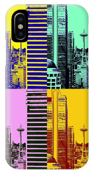Gay Pride Flag iPhone Case - Seattle Space Needle Tile by Brad Walters
