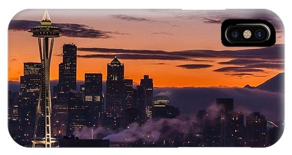 Downtown Seattle iPhone Case - Seattle Sunrise Purples by Mike Reid