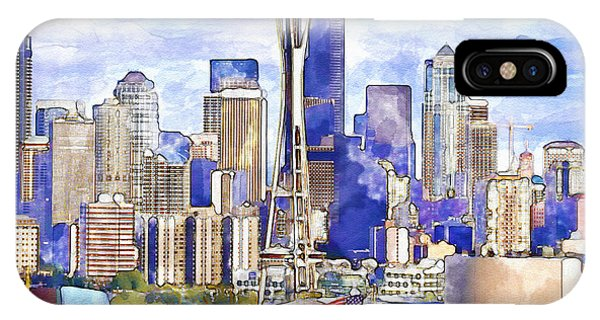 Downtown Seattle iPhone Case - Seattle View In Watercolor by Marian Voicu