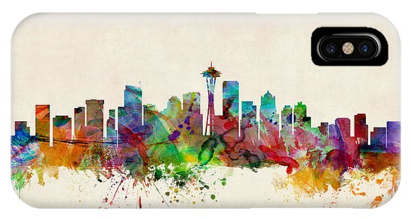 Skyline iPhone Case - Seattle Washington Skyline by Michael Tompsett