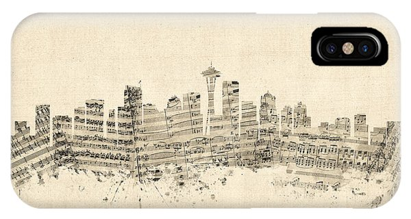 Seattle Skyline iPhone Case - Seattle Washington Skyline Sheet Music Cityscape by Michael Tompsett