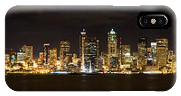 Seattle Waterfront At Night Panoramic IPhone Case