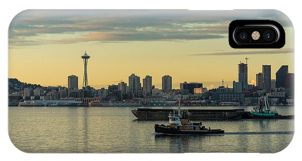 Seattle Skyline iPhone Case - Seattles Working Harbor by Mike Reid