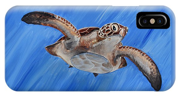 IPhone Case featuring the painting Seaturtle by Steve Ozment