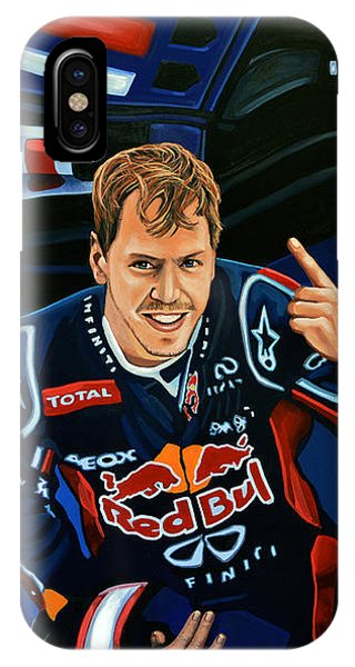 Bull Art iPhone Case - Sebastian Vettel by Paul Meijering