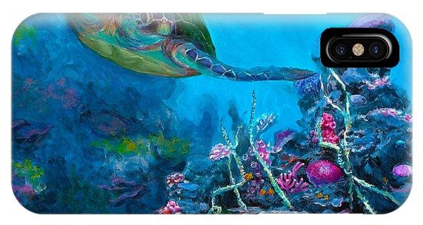 Hawaiian iPhone Case - Secret Sanctuary - Hawaiian Green Sea Turtle And Reef by Karen Whitworth