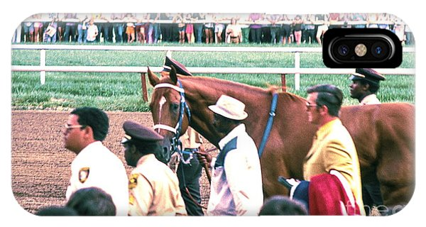 Secretariat Race Horse Looking At Me Before He Won A Big Race At Arlington Race Track In 1973.  IPhone Case