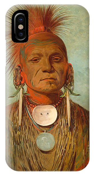American Indian iPhone Case - See Non Ty A An Iowa Medicine Man by George Catlin
