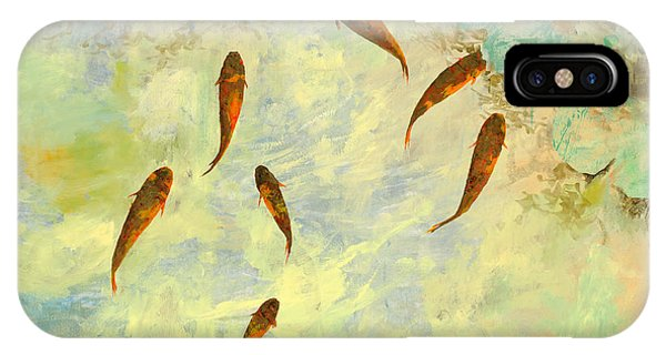Koi iPhone Case - Sei Pesciolini Verdi by Guido Borelli