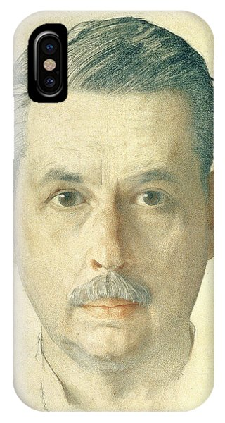 Moustache iPhone Case - Self Portrait, 1921 Pencil On Paper by Konstantin Andreevic Somov