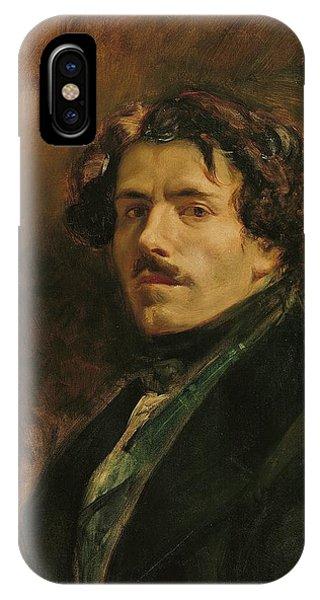Moustache iPhone Case - Self Portrait, C.1837 Oil On Canvas by Ferdinand Victor Eugene Delacroix