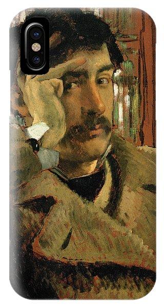 Moustache iPhone Case - Self Portrait, C.1865 Panel by James Jacques Joseph Tissot
