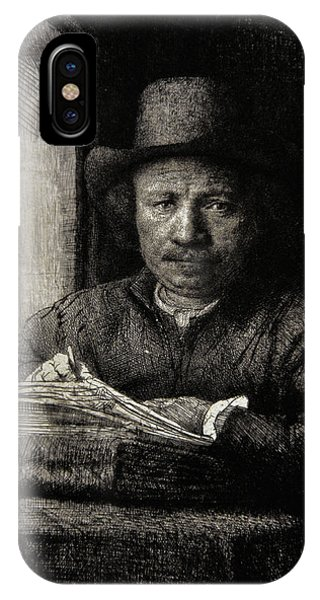 Baroque iPhone Case - Self-portrait Etching At A Window by Rembrandt