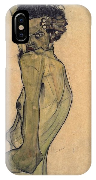 IPhone Case featuring the painting Self-portrait With Arm Twisted Above Head by Egon Schiele