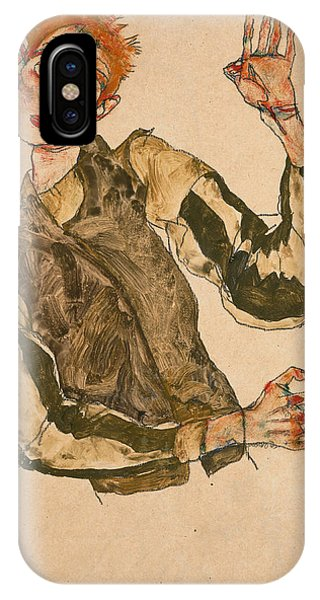 Impressionistic iPhone Case - Self-portrait With Striped Sleeves by Egon Schiele