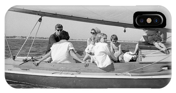 Senator John F. Kennedy With Jacqueline And Children Sailing IPhone Case
