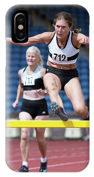 Senior Female Athlete Clears Hurdle IPhone Case