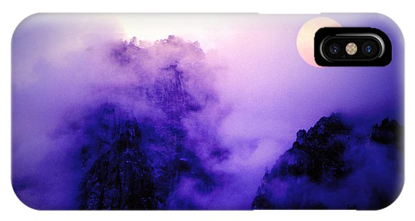 Sentinal Rock And Moon Shrouded In Mist IPhone Case