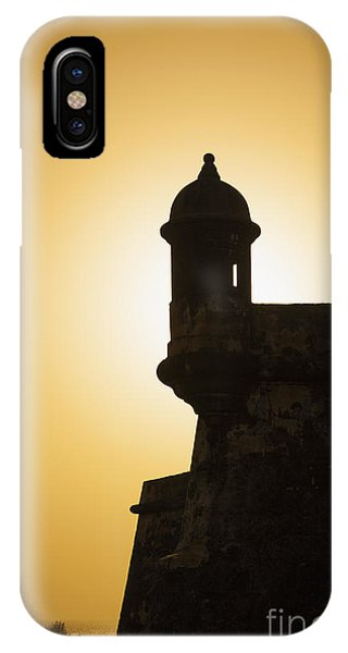 IPhone Case featuring the photograph Sentry Box At Sunset At El Morro Fortress In Old San Juan by Bryan Mullennix