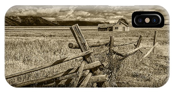 Sepia Colored Photo Of A Wood Fence By The John Moulton Farm IPhone Case