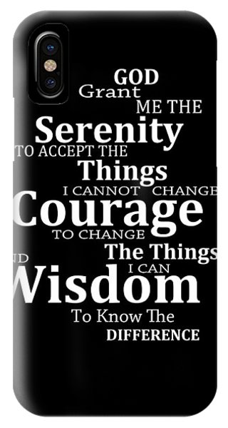 Inspirational iPhone Case - Serenity Prayer 5 - Simple Black And White by Sharon Cummings