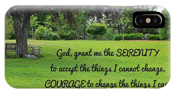 Serenity Prayer And Park Bench IPhone Case