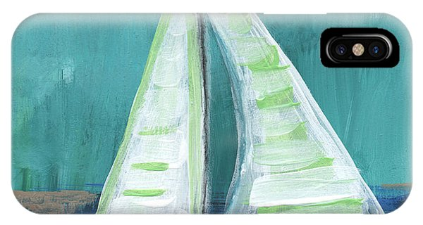 Boats iPhone Case - Set Free- Sailboat Painting by Linda Woods