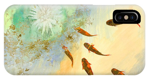 Koi iPhone Case - Sette Pesciolini Verdi by Guido Borelli